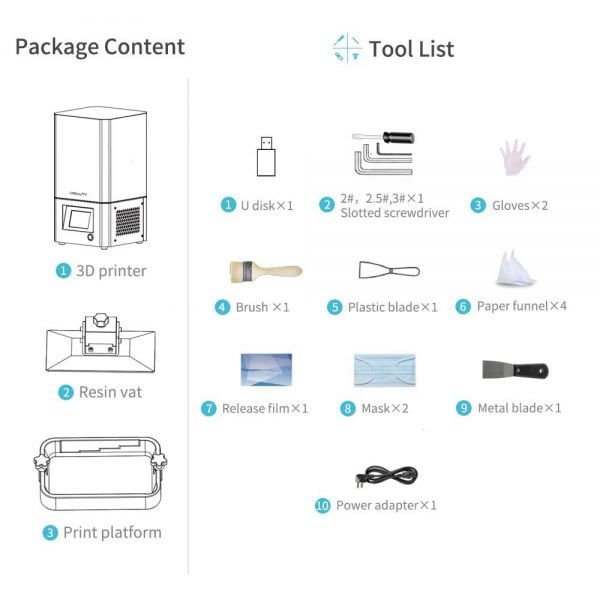 Package content and tool list for Creality LD002R 3D Printer