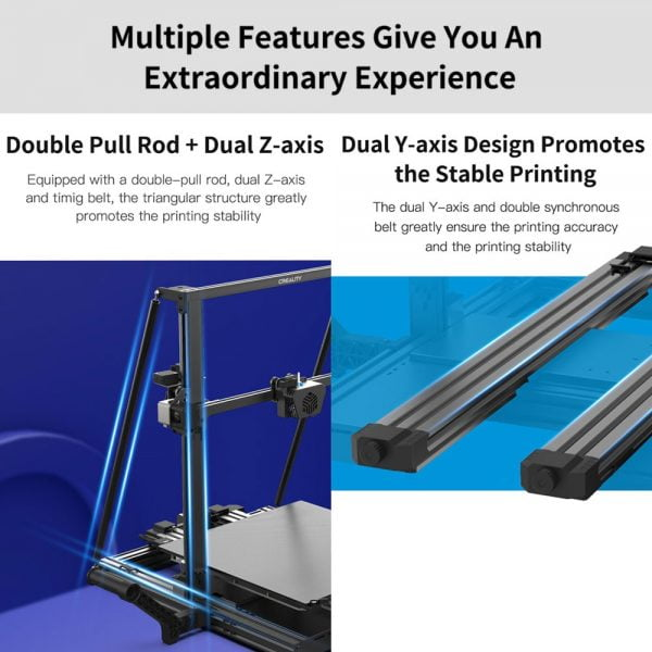 Double pull rod, dual z-axis, dual y-axis and stable printing features of Creality CR-6 Max 3D Printer Auto Leveling