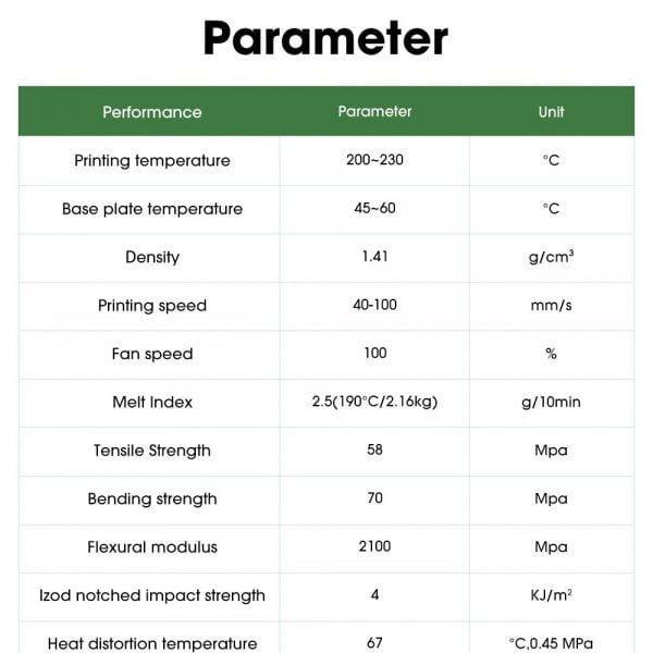 Parameter for eSUN Twinkling PLA Filament 1.75mm Glitter
