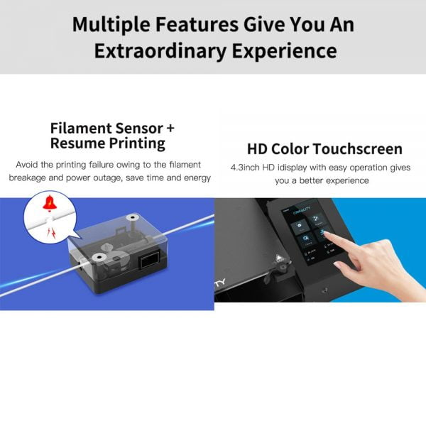 Filament sensor, resume printing and HD color touchscreen features for Creality CR-6 Max 3D Printer Auto Leveling