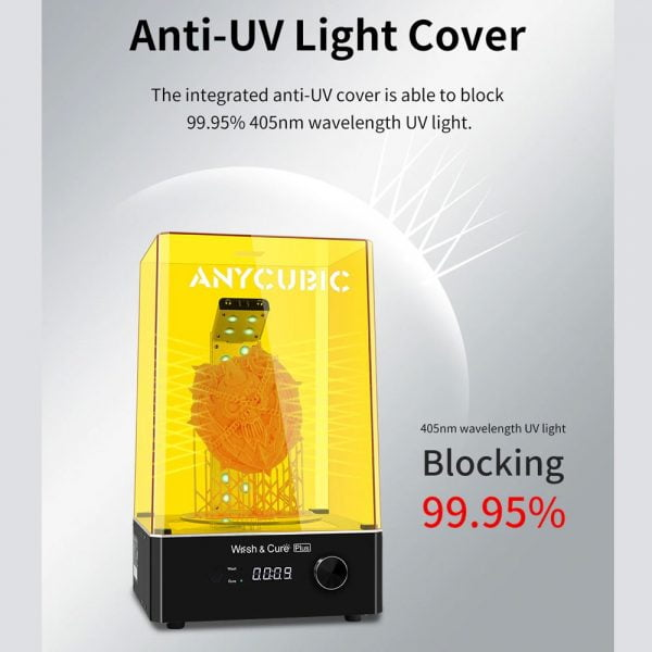 Anti-UV Light Cover of Anycubic Wash & Cure Plus Machine can block 99.95% 405nm wavelength UV light