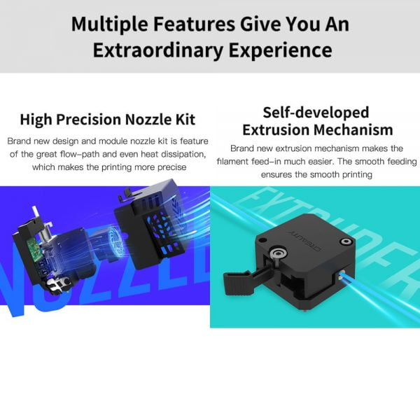 High precision nozzle kit and self-developed extrusion mechanism features for Creality CR-6 Max 3D Printer Auto Leveling