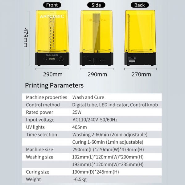 Printing parameters for Anycubic Wash & Cure Plus Machine