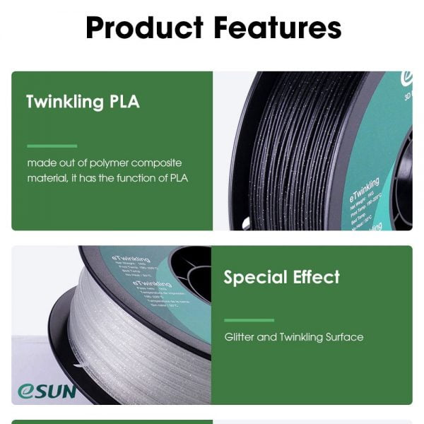 Features of eSUN Twinkling PLA Filament 1.75mm Glitter