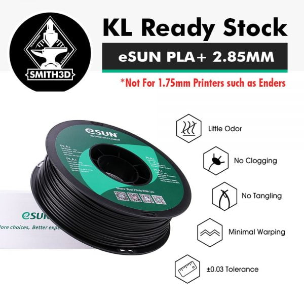 eSUN PLA+ 2.85MM has little odor, no clogging, no tangling, minimal warping and tolerance of 0.03