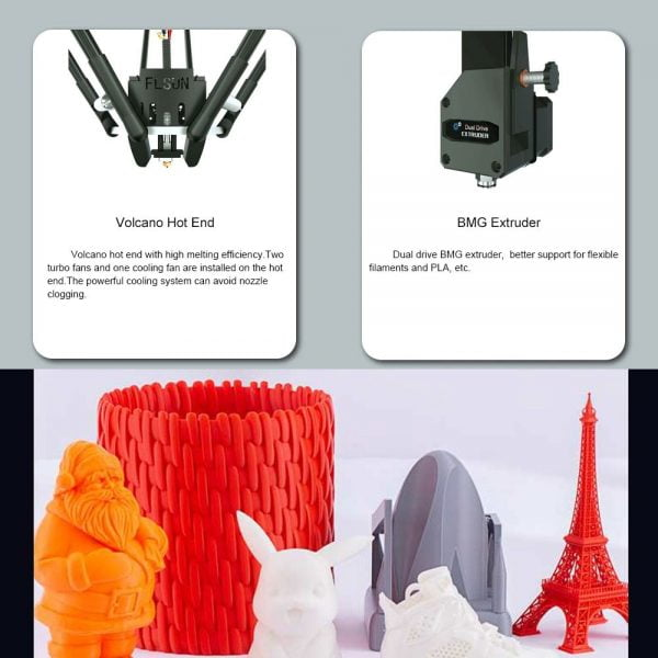 Volcano hot end with high melting efficiency and dual drive BMG extruder for FLSUN Super Racer 3D Printer